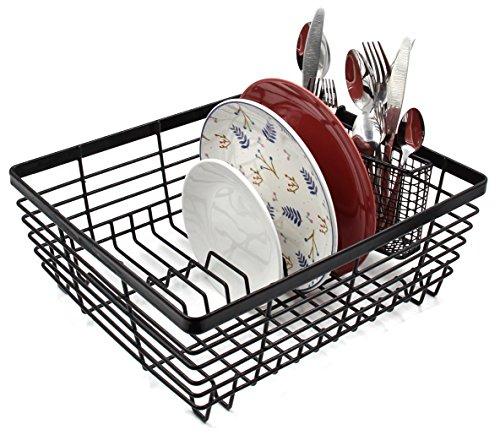 ESYLIFE Kitchen Dish Drainer Drying Rack with Full-Mesh Silverware Storage Basket Black