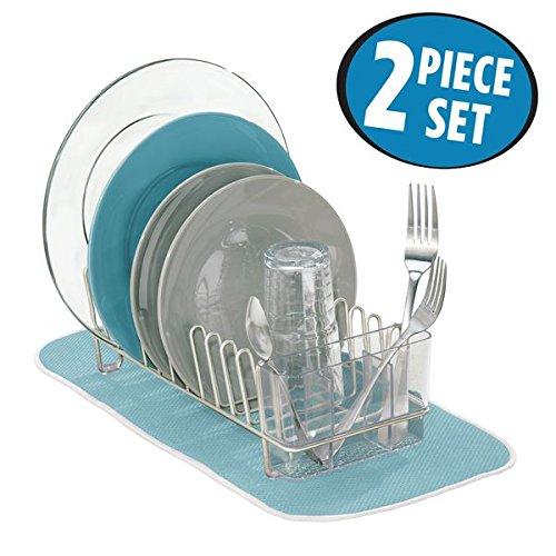 mDesign Kitchen Accessory Set Compact Dish Drainer Mini Dish Drying Mat - Set of 2 SatinAqua Blue