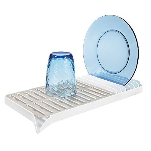 iDesign Austin Compact Dish Drainer for Kitchen Countertops - Matte Satin and Matte White