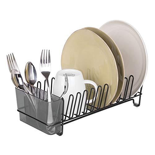 mDesign Compact Kitchen Dish Drainer Rack for Drying Glasses Silverware Bowls Plates - Matte BlackSmoke
