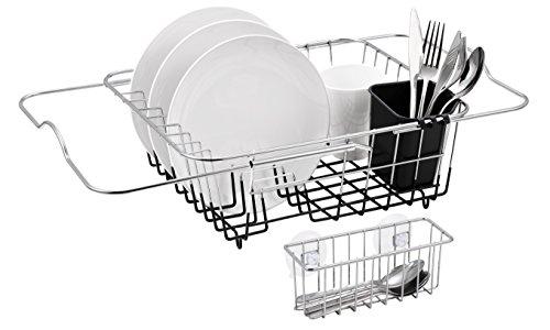 Finnhomy Over Sink Kitchen Dish Drainer Rack Adjustable Bar Chrome