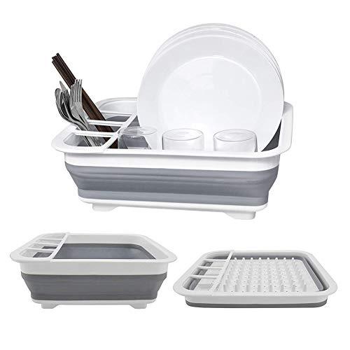 Dish Drying Drainer Collapsible Dish Rack Dish Drainer Compact Dish Drainer for Small Kitchen Camper RV Caravan Travel Trailer