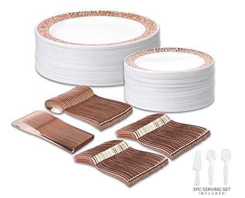 Disposable Wedding Dinnerware Set 303pc50 Guest Rose Gold Premium  50 Dinner Plates 50 Dessert Plates 100 Forks 50 Spoons 50 Knives 3pc Serving Set 50 Guest Set Rose Gold