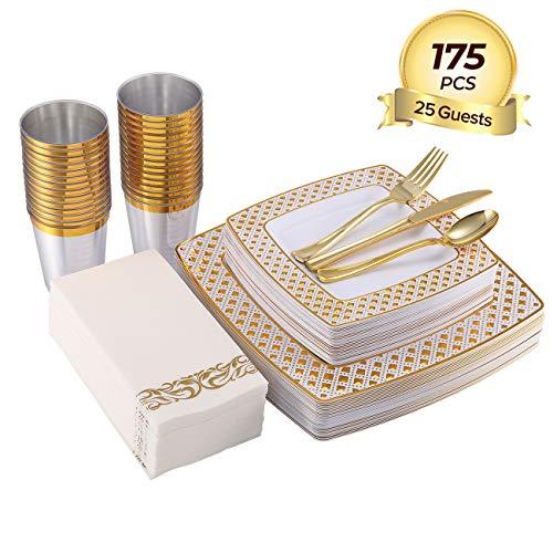 FOCUS LINE 175PCS Gold Plastic Disposable Dinnerware Set Diamond Square Plastic Tableware include 25 Dinner Plates 25 Salad Plates 25 Napkins25 Forks 25 Knives 25 Spoons 25 Cups
