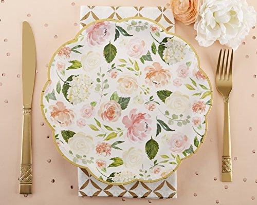 Kate Aspen Floral Paper Plates Disposable Dinnerware Set Set of 8