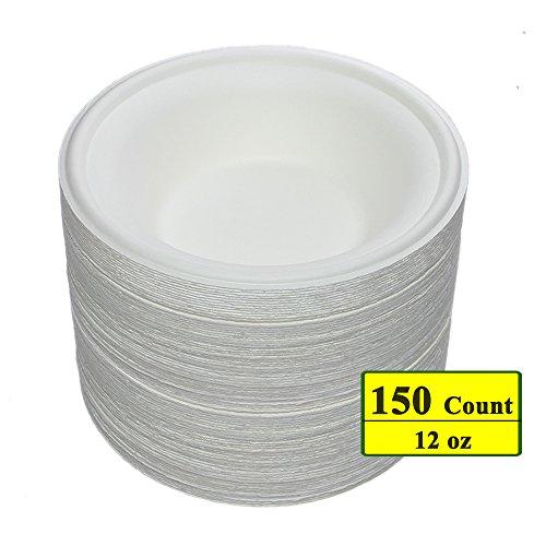 Benail 12 oz Round Disposable Bowls Eco-friendly 100 Natural Sugarcane Biodegradable Compostable Bagasse Tree Free and Plastic Free 150