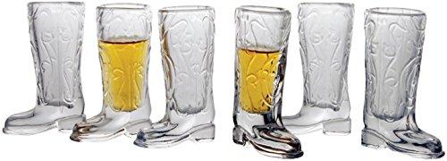 Circleware Kickback Cowboy Boot Shot Glasses Set of 6 15 oz Clear