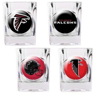 NFL Atlanta Falcons Four Piece Square Shot Glass Set Individual Logos