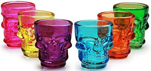 Palais Glassware Crâne Collection Skull Shot Glasses Set Of 6 Multi Colored