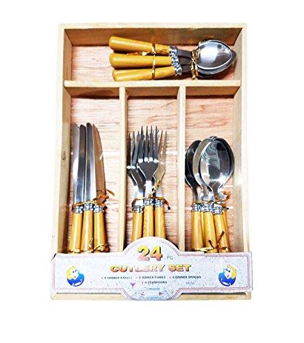 24 PcsSet Wood Like Handle Stainless Steel Flatware  Tableware Cutlery Set