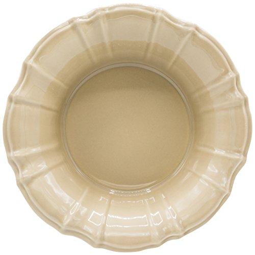 Euro Ceramica Chloe Collection Elegant 98 Ruffled Ceramic PastaSalad Bowl Taupe