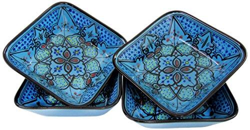 Le Souk Ceramique SB38 Stoneware Square PastaSalad Bowls Set of 4 Sabrine