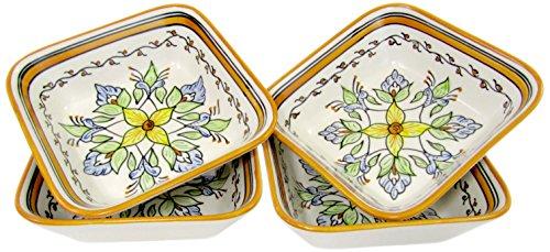 Le Souk Ceramique SL38 Stoneware Square PastaSalad Bowls Set of 4 Salvena