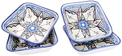 Le Souk Ceramique TIB38 Stoneware Square PastaSalad Bowls Set of 4 Tibarine