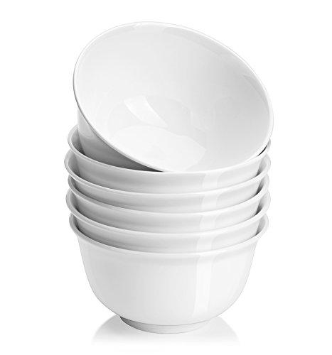 DOWAN 20 oz Porcelain CerealSoup Bowl Set - 6 packs White Deep