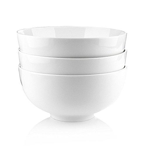 Malacasa 3 Piece Regular Series Porcelain Ceramic China Cereal Soup Rice Bowl Set 64 oz Ivory White