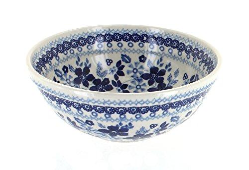 Polish Pottery Vintage Blue Daisy CerealSoup Bowl