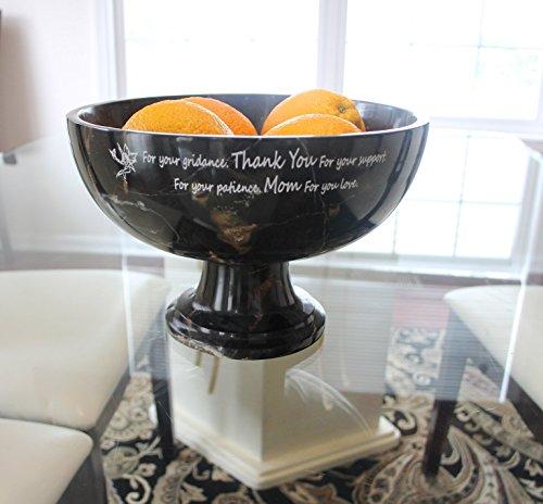 Black Gold Marble Pedestal Fruit Bowl