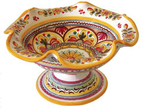 Ceramic Pedestal Fruit Bowl From Spain Seville Pattern