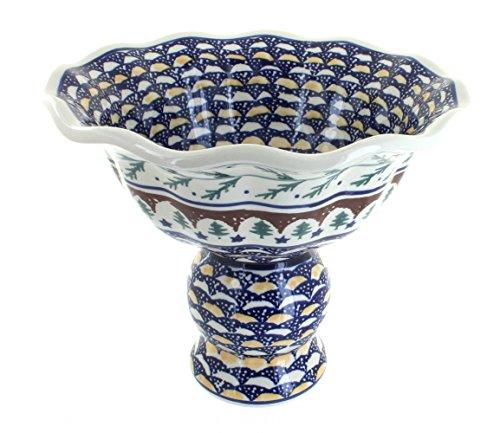 Polish Pottery Evergreen Pedestal Fruit Bowl