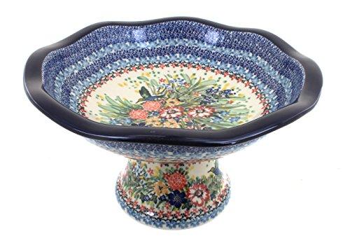 Polish Pottery Hummingbird Pedestal Fruit Bowl