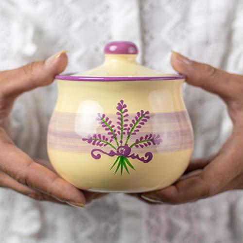 City to Cottage Handmade Lavender Floral Purple and Cream Ceramic Sugar Bowl Pot with Lid  Pottery Honey Jar Jam Jar  Housewarming Gift