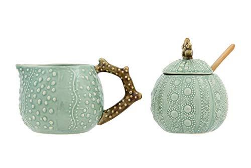 Creative Co-op Stoneware Sugar Pot Creamer with Embossed Coral Design Pot and Creamer Aqua