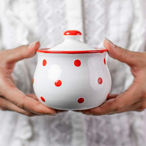 Handmade White And Red Polka Dot Ceramic Sugar Bowl Pot With Lid  Pottery Honey Jar Jam Jar  Housewarming Gift by City to Cottage
