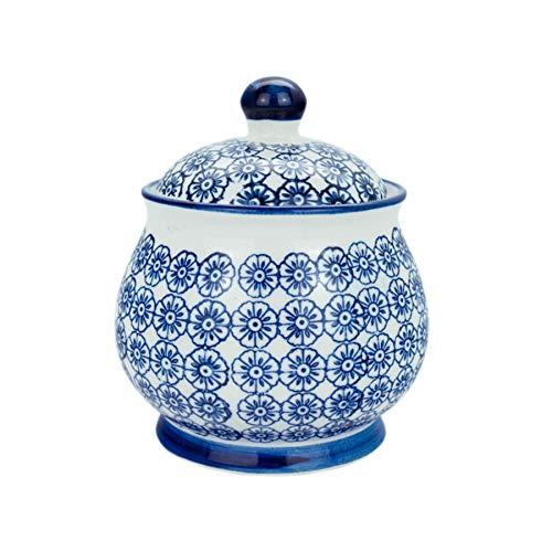 Nicola Spring Patterned Ceramic Sugar Bowl Pot with Lid - Blue Flower