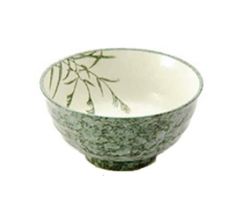 675 Inch Donburi Bowl Green wLeaves