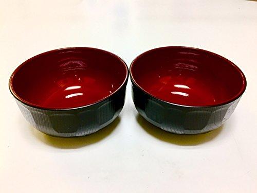 JapanStyle Japanese Donburi Round Rice Bowl dia148×74cm 96g Black x Vermilion  x 2 pcs