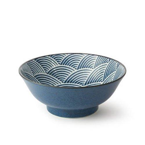 Japanese 825 Porcelain Donburi Rice Udon Bowl Seiganha Wave Made in Japan