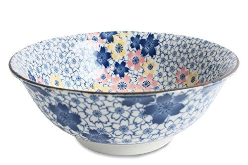 Mino ware Ramen Noodle Donburi Bowl Full of Flowers Blue made in Japan