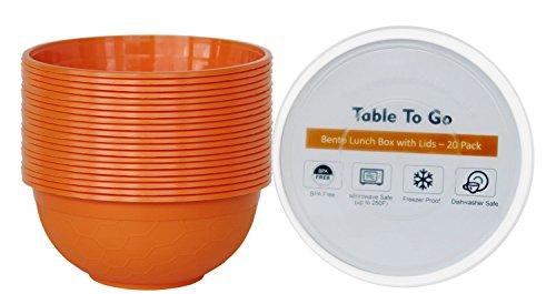 TTG 50-Pack Storage Noodle Bowls with Lids 1 Compartment 35 oz  Microwaveable Dishwasher Freezer Safe Meal Prep Containers  Reusable Dish Set for Prepping Portion Control More Orange