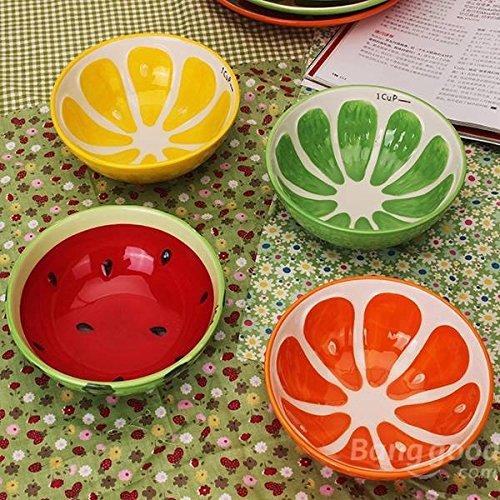 Pink Lizard Handmade Ceramic Bowl Hand Painted Fruit Watermelon Rice Bowl Soup Ceramic Bowl