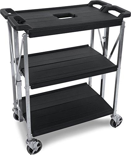 Carlisle SBC152103 Fold N Go Collapsible Utility Cart 350 Pound Capacity 21 Length x 15 Width Shelf Black