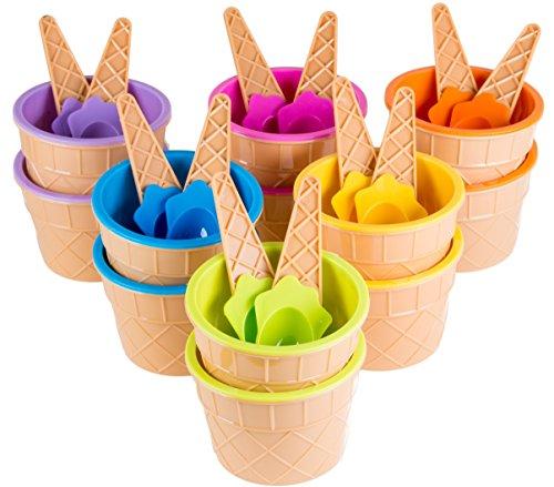 Green Direct Plastic Sundae Ice Cream Frozen Yogurt Cups with Spoons - Ice Cream Dessert Bowls 240
