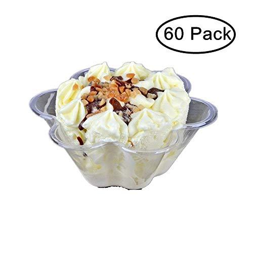 JKLcom Plastic Ice Cream Bowls Ice Cream Cups Containers Clear Plastic Disposable Dessert Bowls Disposable Ice Cream Sundae BowlsFlower Shape60 Pack