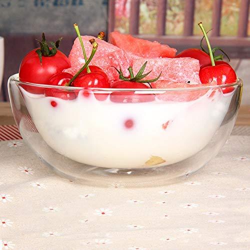 SEYMM Milk yogurt ice cream dessert bowl salad bowl of breakfast cereal bowl double high temperature transparent glass bowl SEYMM Color  Clear Size  145x65CM