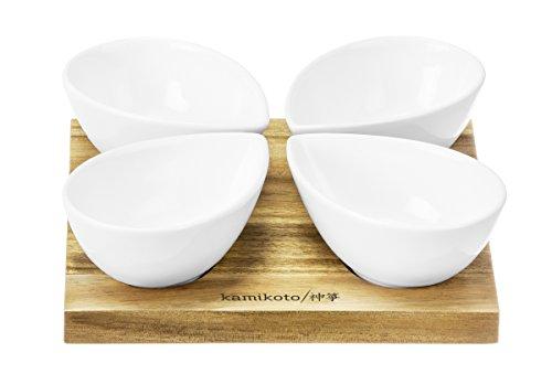 Kamikoto 4 Leaf Bowl Serving Set Acacia Wood Base