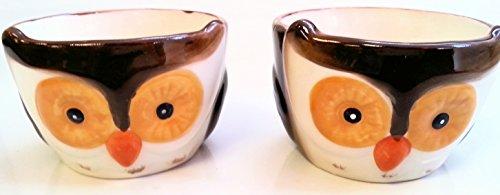 Set of 2 Owl Ceramic Ramekins Dessert Bowl Dishes by WM