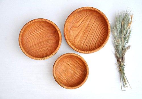 Set of 3 wooden bowls Oak wood bowl set Rustic bowls Dinnerware set for kids Dinner plates for rustic wedding Thanksgiving dinner set Eco-friendly