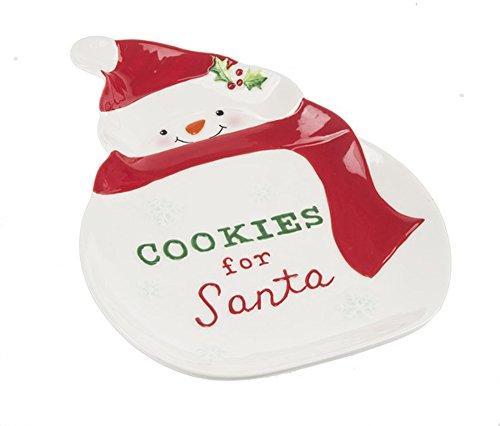 Ceramic Glazed Cookies for Santa Snowman Mistletoe Holly Plate