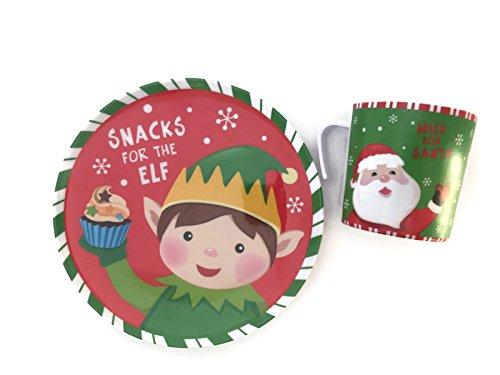 Cookies For Santa Plate Set - Mug For Milk - Christmas Plate Set - Snacks For The Elves Milk For Santa