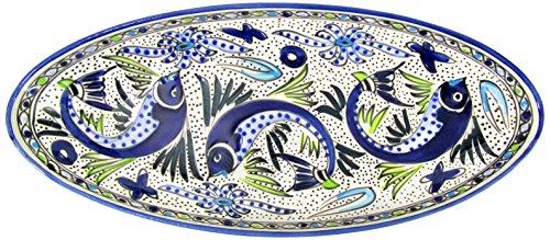 Le Souk Ceramique AF12 Stoneware Extra Large Oval Platter Aqua Fish