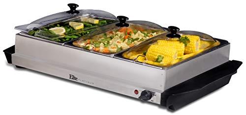 Elite Platinum EWM-6171 Triple Server Food Warmer Adjustable Temp Buffet Trays and Slotted Lids 3 x 25 Quart Stainless Steel