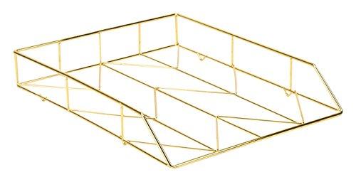 U Brands Desktop Letter Tray Wire Metal Gold