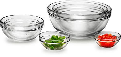 Circleware Basic Huge Set of 7 Nested Glass Serving Mixing Bowls Set for Fruits Salad Dessert and all Food - 4 45 55 65 75 875 10 Dishwasher Safe