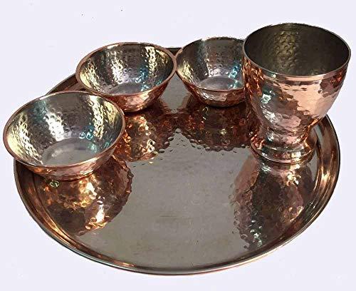 Copper Hammered Thali Stainless Steel Dinner Set