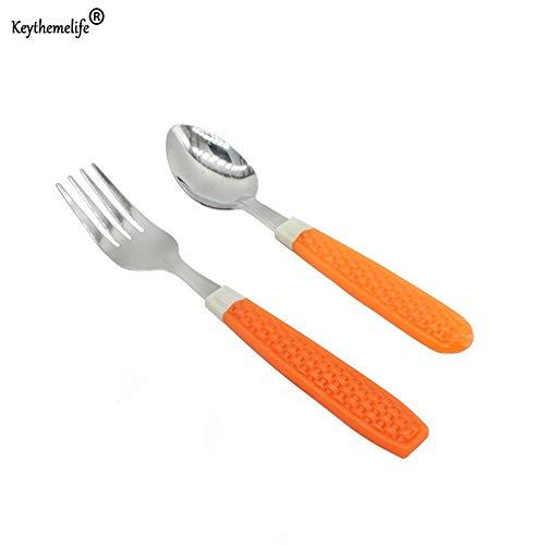 Fiesta 2pcsset Plastic Handle Stainless Steel Dinner set Children Kid Spo onsForks for Tableware Set HHY1